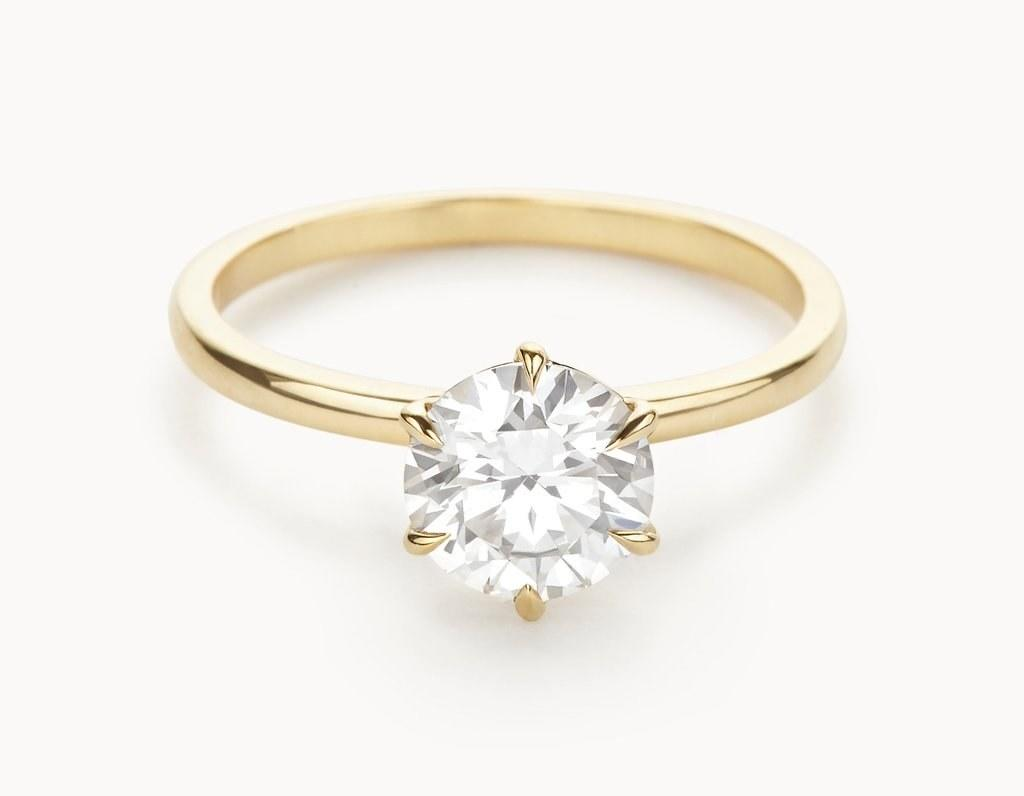 """<p><em>""""The Solitaire"""" in 14k yellow gold, starting at $3,893, <a rel=""""nofollow"""" href=""""https://vow.vraiandoro.com/collections/the-solitaire-18k-yellow-gold?mbid=synd_yahoostyle"""">Vow Vrai & Oro</a></em></p>"""