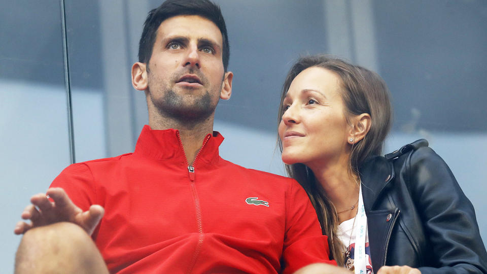 Novak Djokovic and wife Jelena, pictured here at the Adria Tour in Serbia.