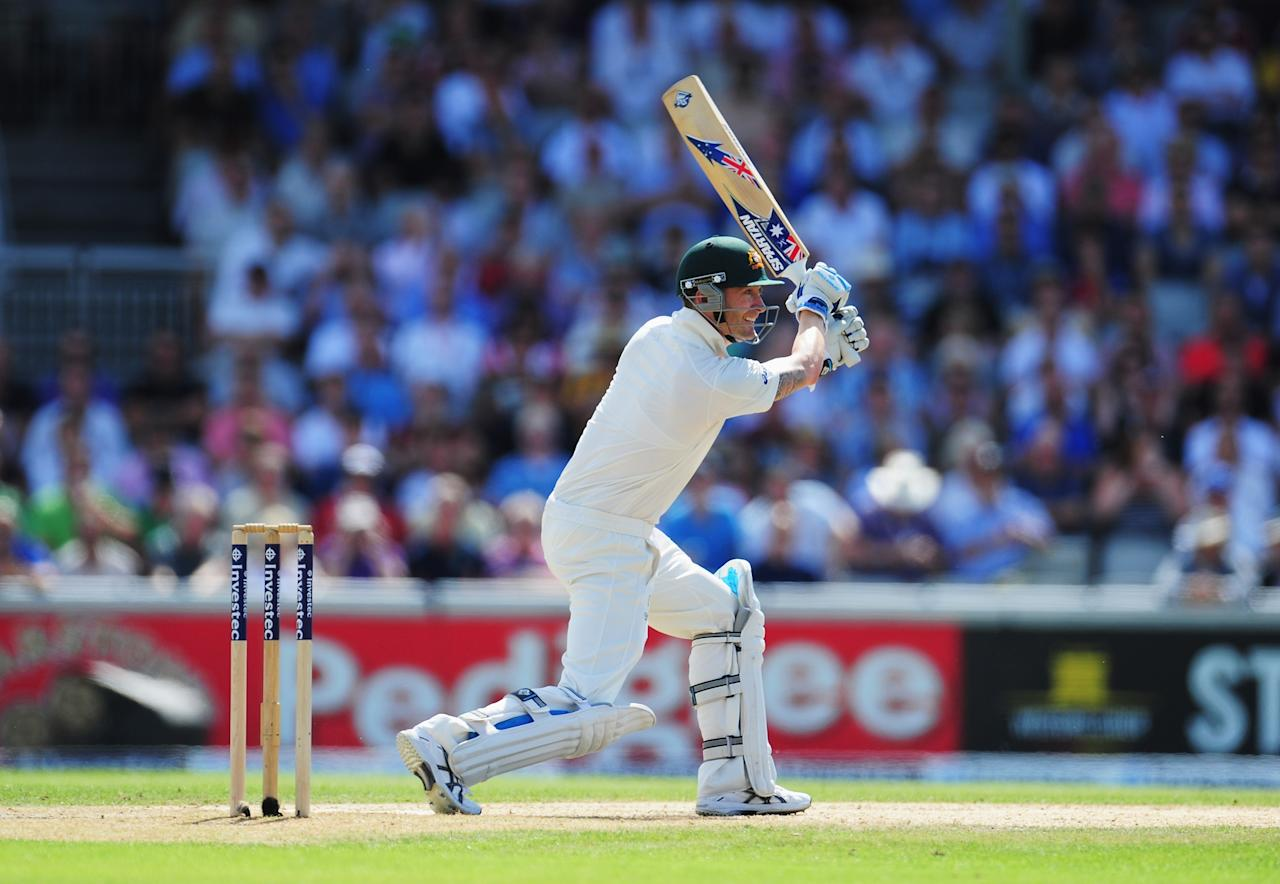 MANCHESTER, ENGLAND - AUGUST 02: Michael Clarke of Australia hits out during day two of the 3rd Investec Ashes Test match between England and Australia at Emirates Old Trafford Cricket Ground on August 2, 2013 in Manchester, England. (Photo by Stu Forster/Getty Images)