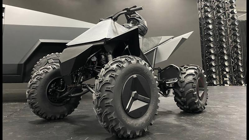The new Tesla Cyberquad ATV, available with the purchase of the new Tesla Cybertruck