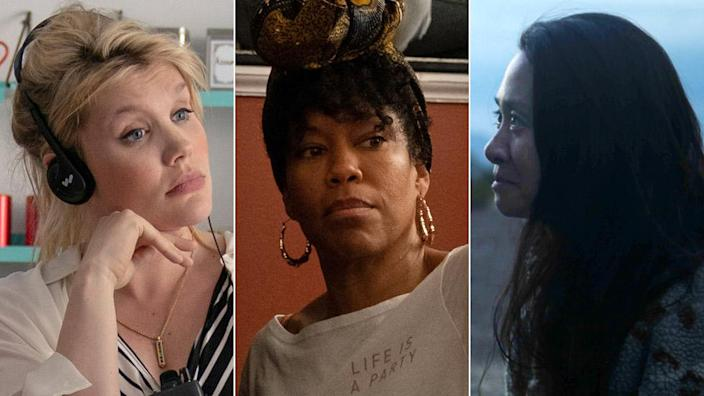 Left-right: Emerald Fennell, Regina King and Chloe Zhao