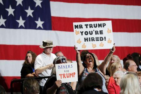 People rally during a campaign event for U.S. Republican presidential candidate Donald Trump in Phoenix