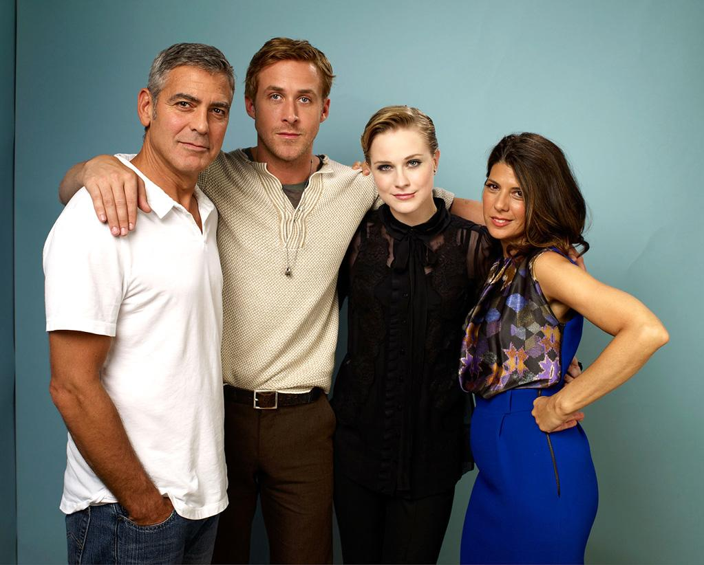"<a href=""http://movies.yahoo.com/movie/contributor/1800019715"">George Clooney</a>, <a href=""http://movies.yahoo.com/movie/contributor/1804035474"">Ryan Gosling</a>, <a href=""http://movies.yahoo.com/movie/contributor/1800021285"">Evan Rachel Wood</a> and <a href=""http://movies.yahoo.com/movie/contributor/1800024659"">Marisa Tomei</a> pose for a portrait during 2011 Toronto Film Festival."