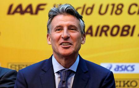 Sebastian Coe, IAAF's President, addresses a news conference ahead of the Under-18 world athletics championships in Nairobi