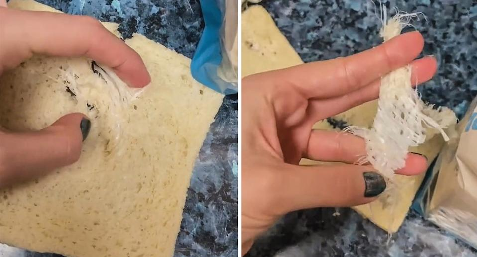 The plastic netting appeared to be baked inside the Aldi bread loaf. Source: Newsflash/Australscope