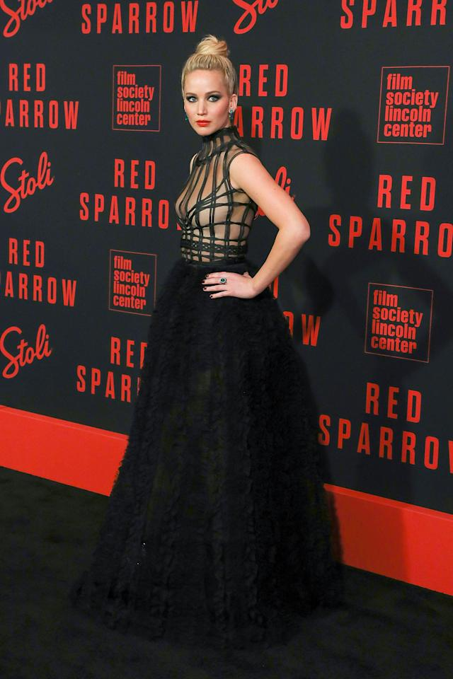 "<p>At the <strong>Red Sparrow</strong> premiere in February 2018, JLaw wore an incredible <a href=""https://www.popsugar.com/fashion/Jennifer-Lawrence-Dior-Dress-Red-Sparrow-New-York-Premiere-44619792"" class=""ga-track"" data-ga-category=""Related"" data-ga-label=""https://www.popsugar.com/fashion/Jennifer-Lawrence-Dior-Dress-Red-Sparrow-New-York-Premiere-44619792"" data-ga-action=""In-Line Links"">Dior dress</a> with equally as exciting Roger Vivier booties.</p>"
