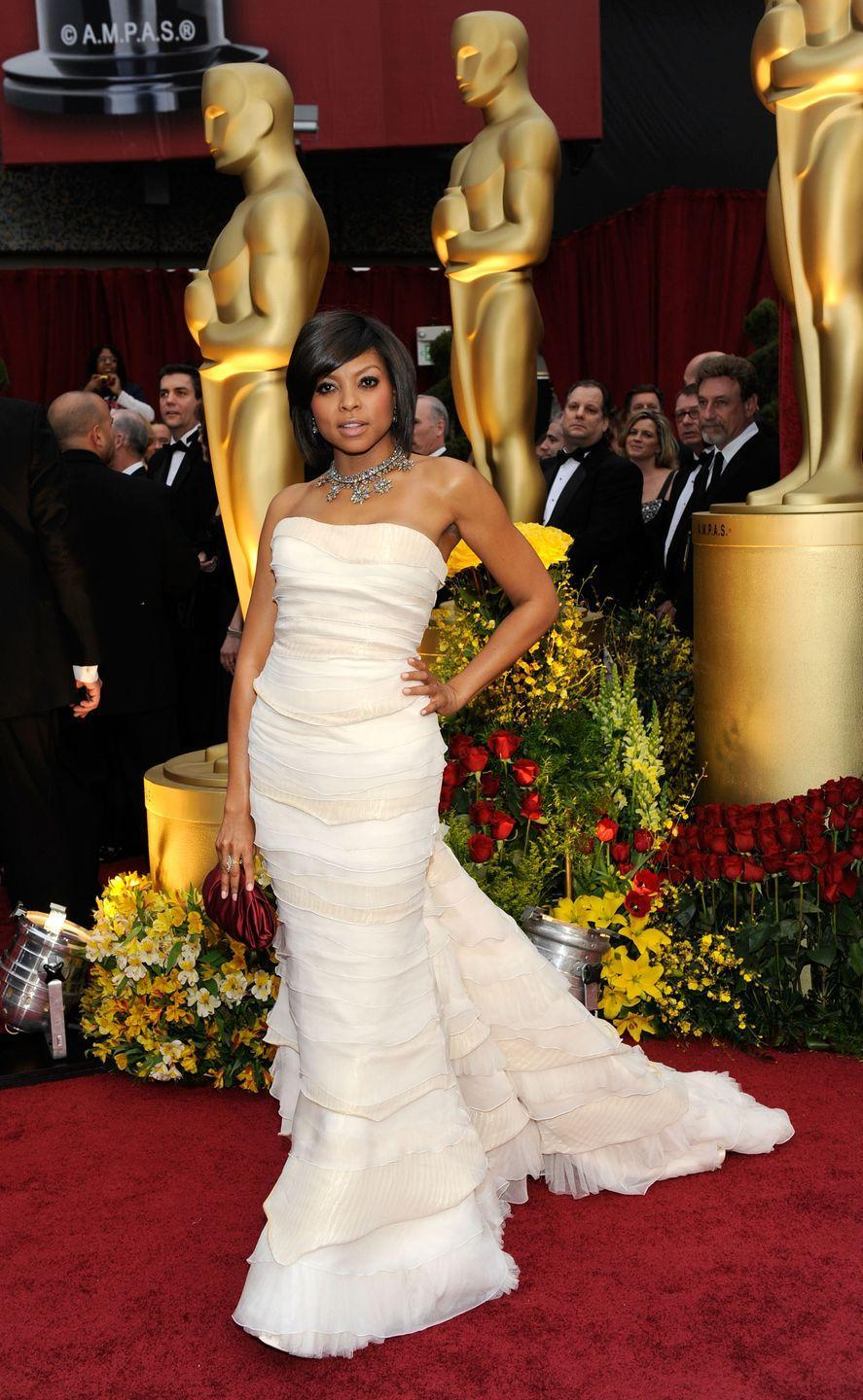 <p>Taraji made an unforgettable Oscar debut in a strapless Roberto Cavalli number, short bob and dazzling necklace. She received her first Best Supporting Actress nomination for <em>The Curious Case of Benjamin Button</em>. </p>