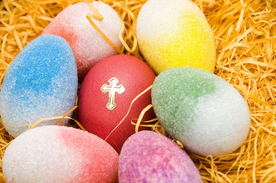 """<p>The Irish also have a tradition of <a href=""""https://www.ireland-fun-facts.com/eastertraditionsofireland.html"""" rel=""""nofollow noopener"""" target=""""_blank"""" data-ylk=""""slk:marking eggs with a holy cross"""" class=""""link rapid-noclick-resp"""">marking eggs with a holy cross</a> and having each family member eat one on Easter Sunday. Doing this will help bring good health and luck in the next year.<strong><br></strong></p><p><strong>RELATED:</strong> <a href=""""https://www.goodhousekeeping.com/food-recipes/easy/g606/deviled-eggs-recipes/"""" rel=""""nofollow noopener"""" target=""""_blank"""" data-ylk=""""slk:30+ Delicious Ways to Make Deviled Eggs"""" class=""""link rapid-noclick-resp"""">30+ Delicious Ways to Make Deviled Eggs</a></p>"""