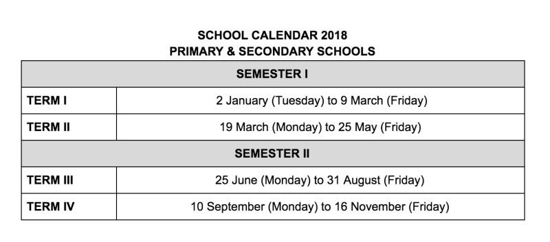 School Calendar Singapore 2018 : Moe school year to begin on january end