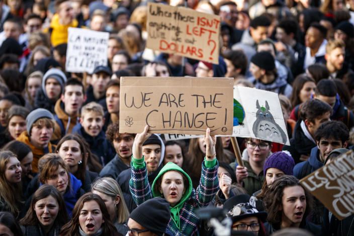 Students demonstrate during a 'Youth For Climate' strike urging pupils to skip classes to protest a lack of climate awareness in Lausanne, Switzerland, Friday, Jan. 18, 2019. (Valentin Flauraud/Keystone via AP)