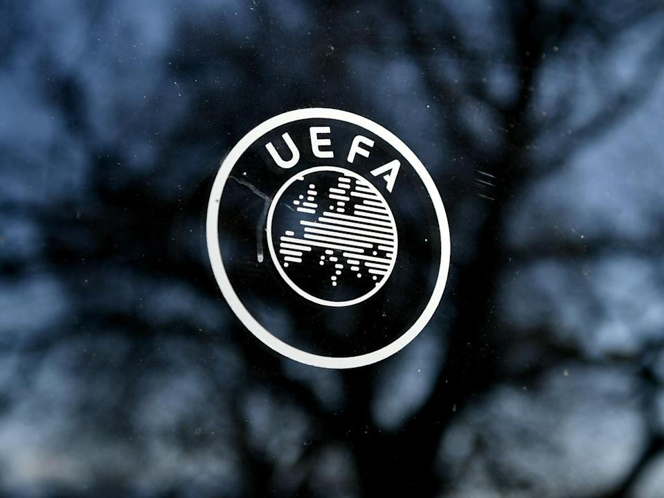 A general view of the Uefa logo (AFP via Getty Images)