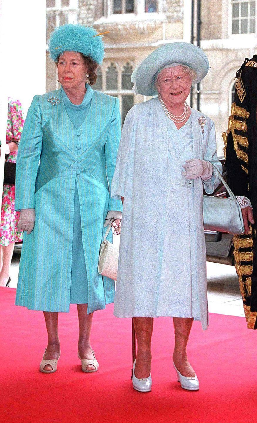 <p>The Queen Mother and Princess Margaret at a luncheon in honor of Elizabeth's 100th birthday. Margaret's mother died on March 30, 2002, one month after Margaret died that same year. </p>