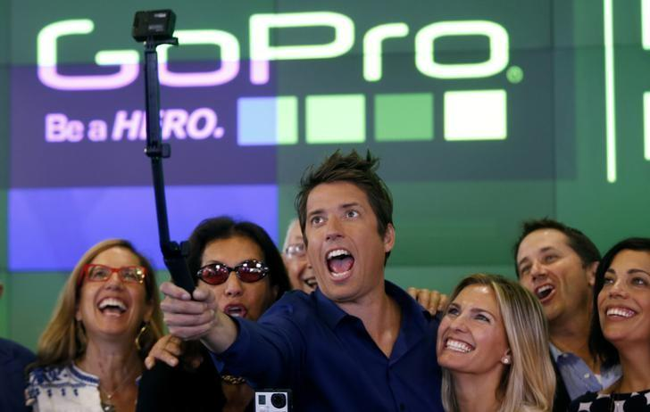 GoPro Inc's founder and CEO Woodman celebrates GoPro Inc's IPO at the Nasdaq Market Site in New York City