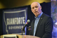 FILE - In this June 14, 2019, file photo, Congressman Greg Gianforte announces his bid for Montana governor at the Montana Republican Party convention in Helena, Mont. Gianforte, a former technology entrepreneur, has spent more than $1 million of his own money in the race against Montana Attorney General Tim Fox and state Sen. Al Olszewski. (Thom Bridge/Independent Record via AP, File)