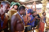 Devotees approached the shrine after it was closed for around an hour while a purification ritual was performed