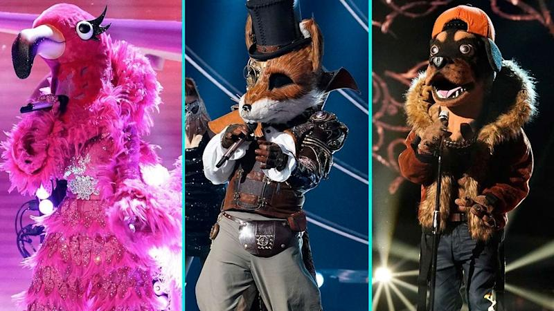 (From left to right) Flamingo, Fox, and Rottweiler from The Masked Singer sing on stage