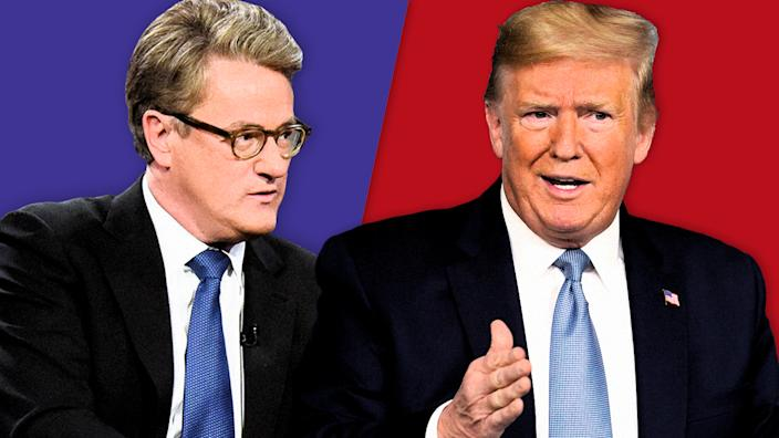 Joe Scarborough and President Trump. (Photo illustration: Yahoo News; photos: Scott Kowalchyk/CBS via Getty Images, AP)