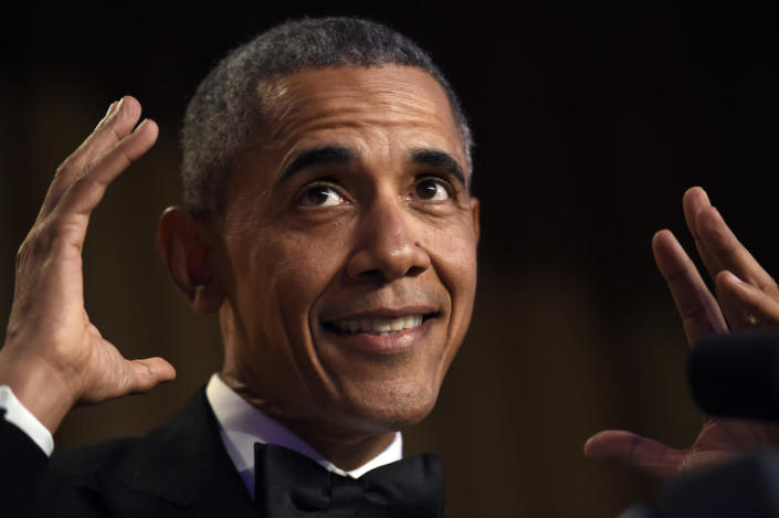 <p>President Obama speaks at the annual White House Correspondents' Dinner, April 30. <i>(Photo: Susan Walsh/AP)</i></p>