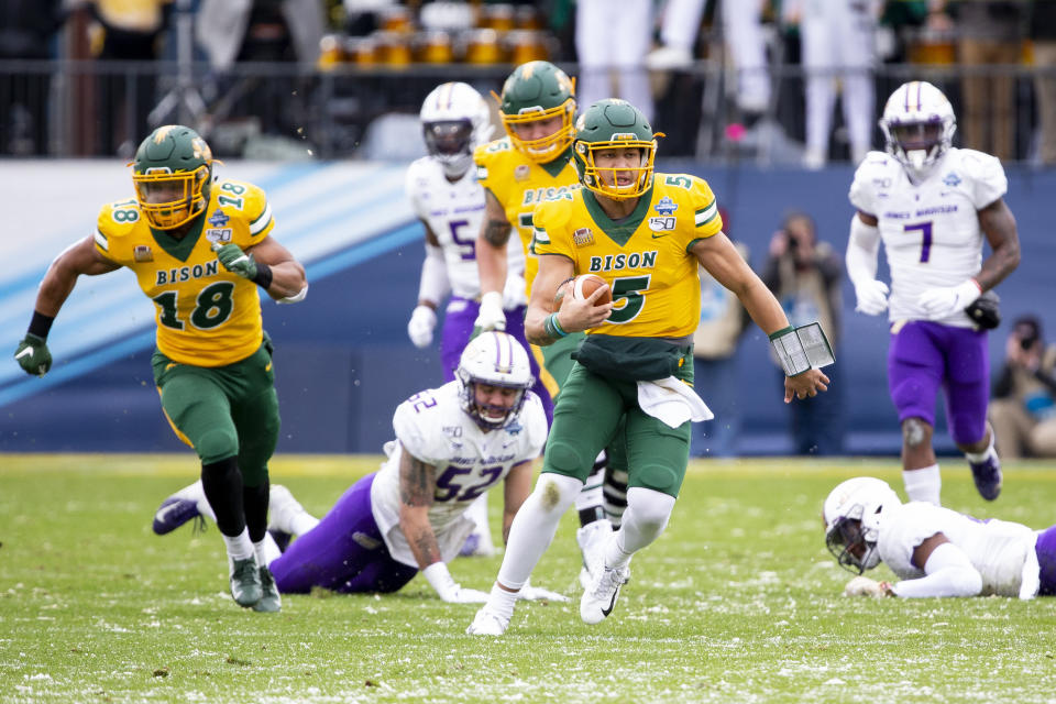 North Dakota State QB Trey Lance (5) runs with the ball during the first half of the FCS championship game on Jan. 11, 2020. (AP)