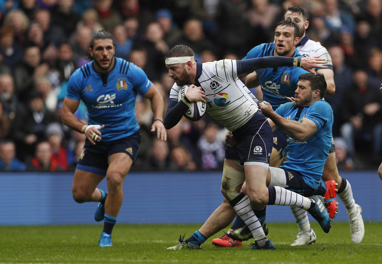 Britain Rugby Union - Scotland v Italy - Six Nations Championship - BT Murrayfield Stadium, Edinburgh, Scotland - 18/3/17 Scotland's Finn Russell in action Italy  Action Images via Reuters / Lee Smith Livepic
