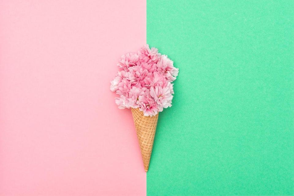 Cherry blossoms in a waffle cone on a pastel pink and green background