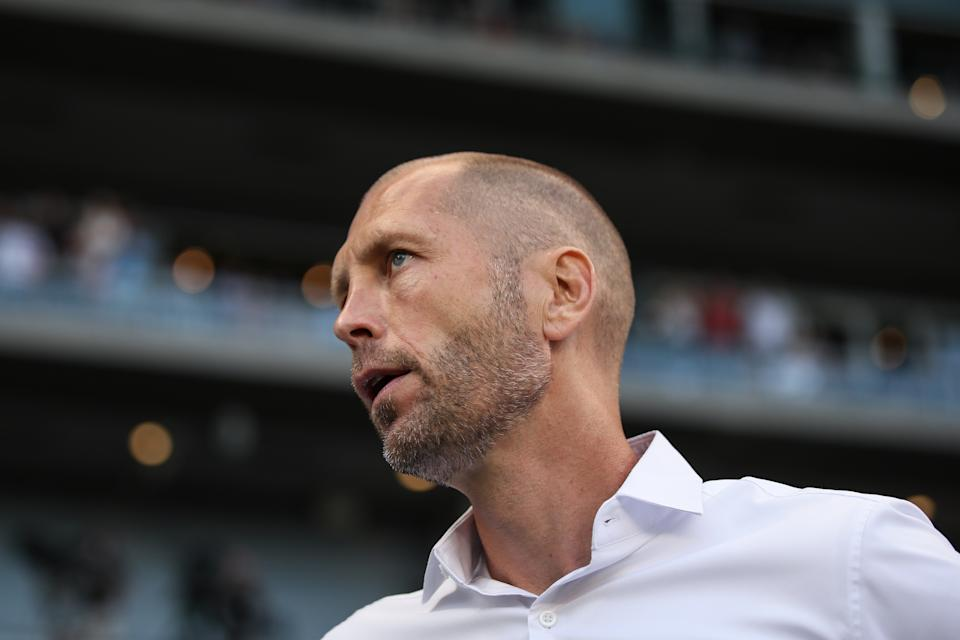 KANSAS CITY, KS - JUNE 26:  Gregg Berhalter  the head coach / manager of USA during the Group D 2019 CONCACAF Gold Cup match between Panama v United States of America at Children's Mercy Park on June 26, 2019 in Kansas City, Kansas. (Photo by Matthew Ashton - AMA/Getty Images)