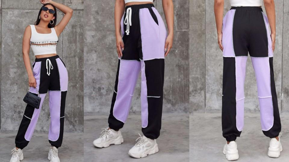 SHEIN Plus Seam Front Two Tone Joggers, $26
