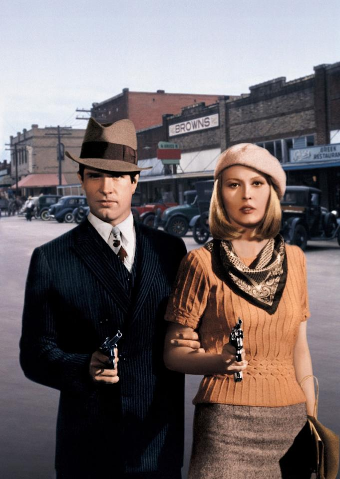 <p>In perhaps the most iconic look from the film, Bonnie and Clyde leaned heavily on the classics. His pinstripe double-breasted suit was tailored to perfection, while her ribbed knit sweater, tweed pencil skirt, silk scarf, and wool beret were criminally chic. </p>