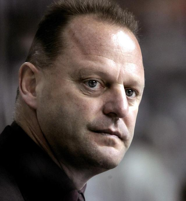 ** FILE ** Columbus Blue Jackets head coach Gerard Gallant watches the first period against the Tampa Bay Lightning in an NHL hockey game in this Jan. 13, 2006 file photo in Tampa, Fla. The Columbus Blue Jackets fired Gallant Monday, Nov. 13, 2006. (AP Photo/Chris O'Meara, File)