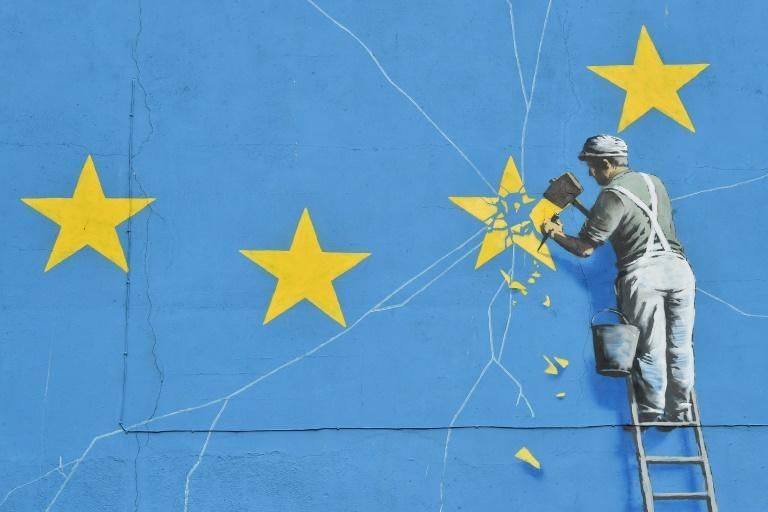 A mural by British artist Banksy appeared at the port of Dover, in south east England, in January 2019