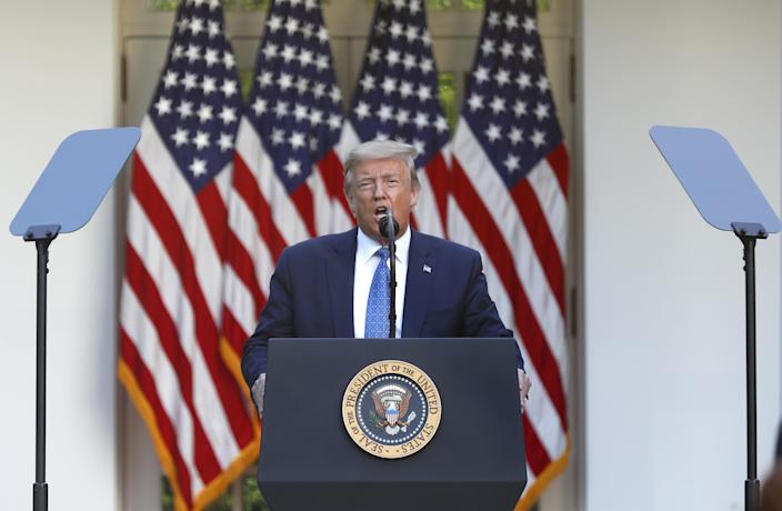 President Trump speaks in the Rose Garden of the White House on Monday. (Shawn Thew/EPA/Bloomberg via Getty Images)