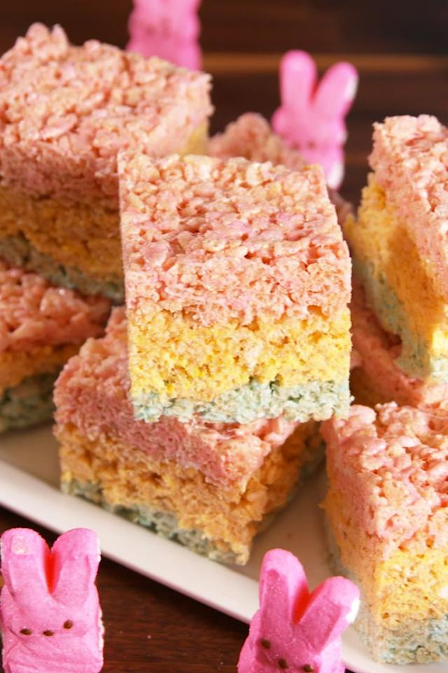 "<p>Peeps + Rice Krispies = match made in heaven.</p><p>Get the recipe from <a href=""/cooking/recipe-ideas/recipes/a52365/peepsie-treats-recipe/"" target=""_blank"">Delish</a>.</p><p><strong><a class=""body-btn-link"" target=""_blank"">BUY NOW</a><em> 8 Inch Square Baking Dish, $35, amazon.com</em></strong><br></p>"