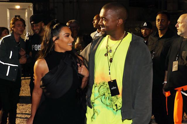 Kim Kardashian West and Kanye West attend the Nas Album Listening Session on June 14, 2018, in New York City. (Photo: Johnny Nunez/WireImage)