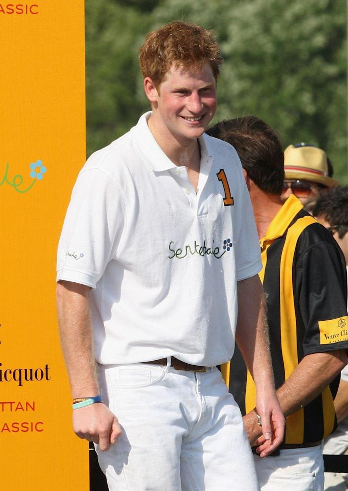 <p>Harry basks in the New York sunshine during the 2009 Veuve Clicquot Manhattan Polo Classic on Governor's Island. The trip was part of a 36-hour visit to the Big Apple and included stops at Ground Zero and a veterans hospital.</p>