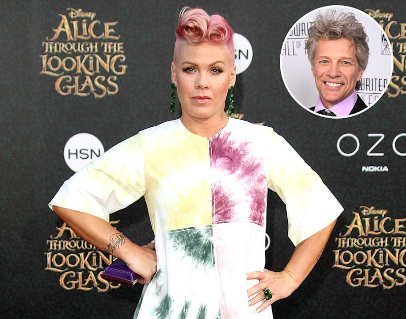 Pink, in 2016, loved Jon Bon Jovi from and early age, and let him know all about it when they met after she became famous. (Photos Getty Images)