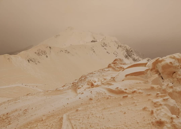 orange snow mountain europe
