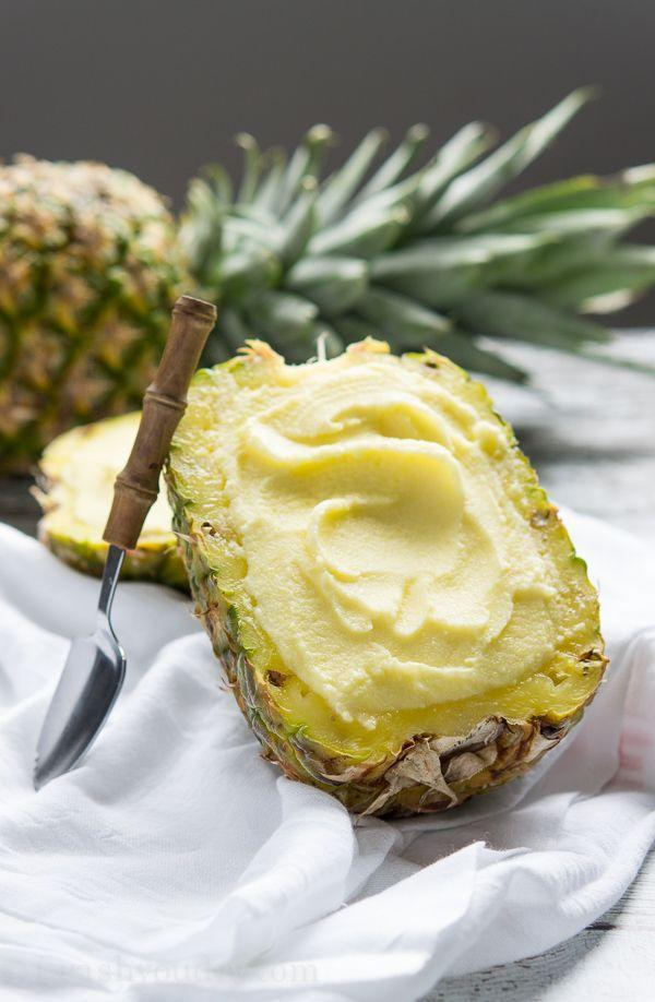 """<p>Nothing says vacation like eating pineapple sorbet out of a fresh pineapple.</p><p>Get the recipe from <a href=""""http://www.iwashyoudry.com/2014/05/30/creamy-pineapple-sorbet/#_a5y_p=1778115"""" rel=""""nofollow noopener"""" target=""""_blank"""" data-ylk=""""slk:I Wash You Dry"""" class=""""link rapid-noclick-resp"""">I Wash You Dry</a>.</p>"""