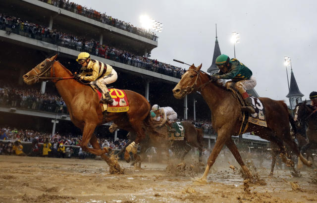 FILE - In this May 4, 2019, file photo, Flavien Prat rides Country House to the finish line during the 145th running of the Kentucky Derby horse race at Churchill Downs in Louisville, Ky. Kentucky Derby winner Country House will not run in the Preakness. Assistant trainer Riley Mott confirmed to The Associated Press on Tuesday, May 7, that the longshot winner of horse racings biggest event is no longer being considered for the second jewel of the Triple Crown. Country House was named the winner of the Kentucky Derby after Maximum Security was disqualified. (AP Photo/Matt Slocum, File)