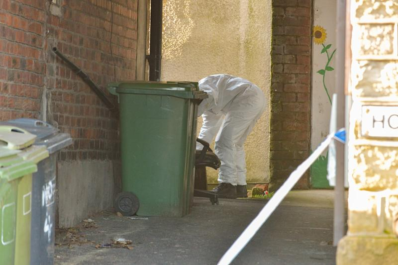Forensic officers investigate an alleyway close to where Robert Wilson, 53, stabbed to death. (Alex Cousins/SWNS)