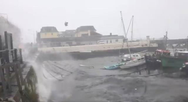 <p>Winds batter the harbor as storm Ophelia hits Cork, Ireland, Oct. 16, 2017, in this still images obtained from social media video. (Photo: Kieron O'Connor via Reuters) </p>