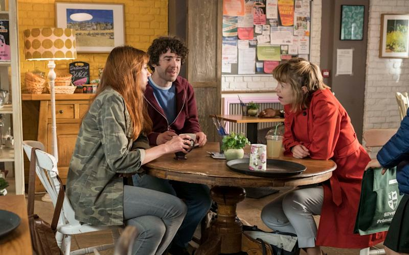 Anna Maxwell Martin (right) as Julia in Motherland, with Liz (Diane Morgan) and Kevin (Paul Ready) - Colin Hutton
