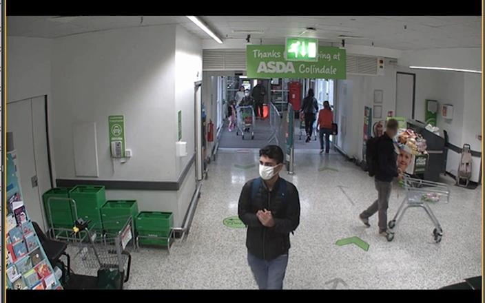 CCTV footage of Danyal Hussein from Asda in Colindale, where he purchased a knife block