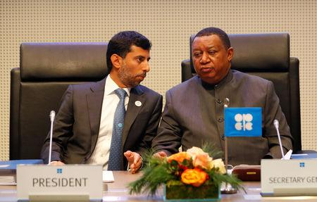 UAE's Oil Minister OPEC President Suhail Mohamed Al Mazrouei and OPEC Secretary General Mohammad Barkindo wait for the beginning of an OPEC meeting in Vienna, Austria December 6, 2018.   REUTERS/Leonhard Foeger