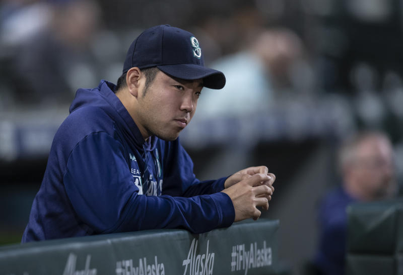 SEATTLE, WA - SEPTEMBER 24: Yusei Kikuchi #18 of the Seattle Mariners is pictured in the dugout before a game against the Houston Astros at T-Mobile Park on September 24, 2019 in Seattle, Washington. The Astros won 3-0. (Photo by Stephen Brashear/Getty Images)
