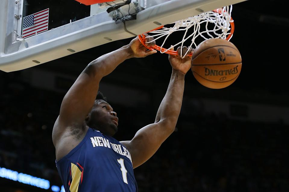 Zion Williamson made NBA history on Friday in the Pelicans' win over the Cavaliers. (Jonathan Bachman/Getty Images)