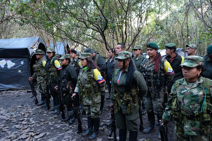 """<span class=""""caption"""">More than 2,000 women were processed through demobilization camps in Colombia as the government transitions disarmed FARC guerrillas back into civilian life, Jan. 18, 2017. </span> <span class=""""attribution""""><a class=""""link rapid-noclick-resp"""" href=""""https://www.gettyimages.com/detail/news-photo/guerrilla-fighters-seen-during-a-line-up-inside-a-news-photo/641252372?adppopup=true"""" rel=""""nofollow noopener"""" target=""""_blank"""" data-ylk=""""slk:Kaveh Kazemi/Getty Images"""">Kaveh Kazemi/Getty Images</a></span>"""