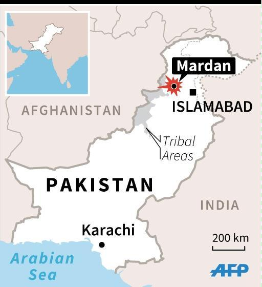 Map of Pakistan locating suicide attack in Mardan. 45 x 49 mm (AFP Photo/Sophie Ramis)