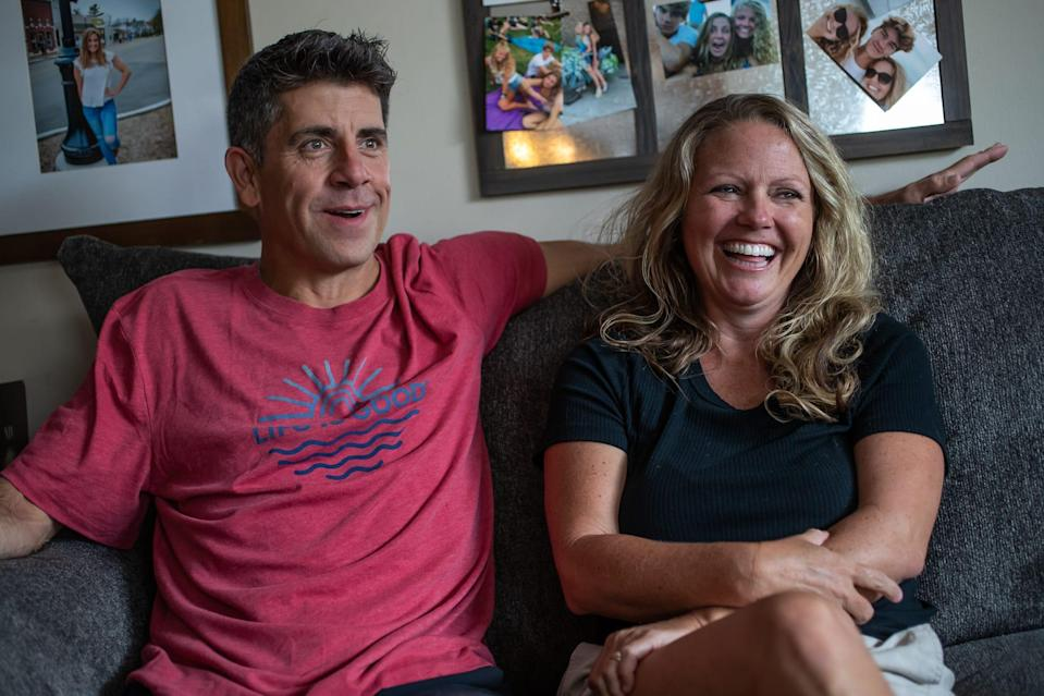 """""""Everyone knew but me,"""" said Jeff Mills about his daughter Sadie's plan to marry Chase Smith. """"He makes her so happy and so I hugged him and said, 'Of course you have my blessing.'"""" Mills, alongside wife Jessica, talk about events leading up to the wedding during an interview inside their Mooresville, Ind., home on Tuesday, June 9, 2020"""