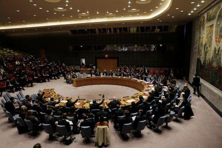 Members of the United Nations (UN) Security Council vote on a U.S. bid to renew an international inquiry into chemical weapons attacks in Syria during a meeting at the UN headquarters in New York, U.S., November 16, 2017. REUTERS/Lucas Jackson