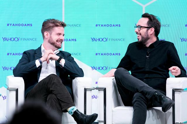 Blockchain CEO Peter Smith (L) and Chain CEO Adam Ludwin at the Yahoo Finance All Markets Summit: Crypto on Feb. 7, 2018